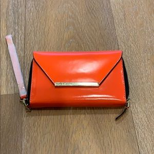 BCBGMAXAZRIA wallet wristlet clutch bright orange